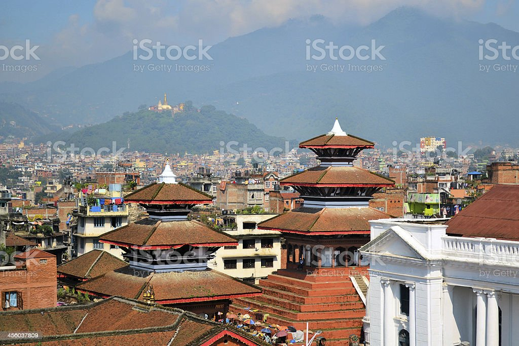 Durbar Square with Swayambhu in the background stock photo