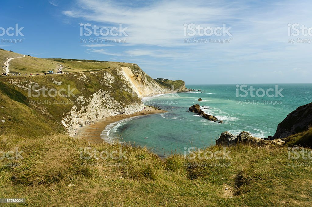 durdle door at a beach in southern uk stock photo