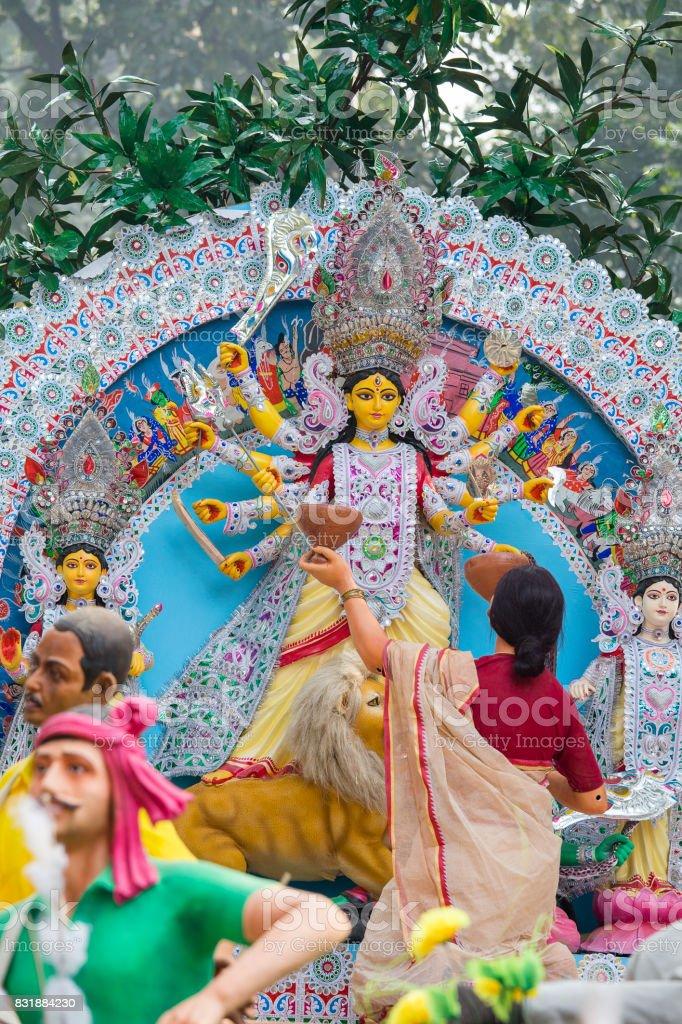 Durga Idol - Durga puja Navratri, New Delhi, India stock photo