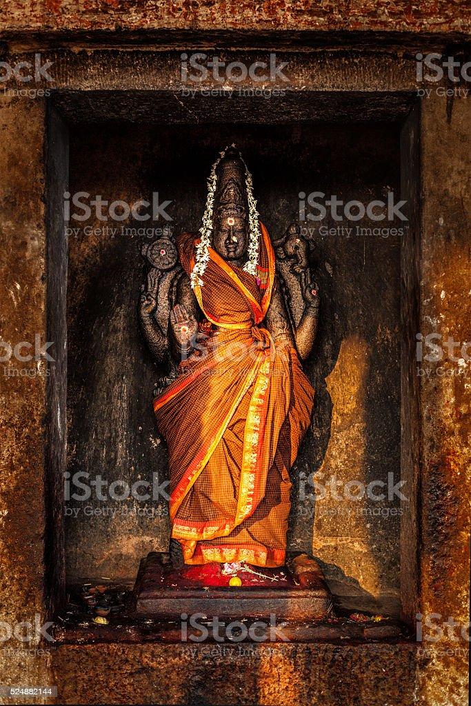 Durga image in Hindu temple stock photo