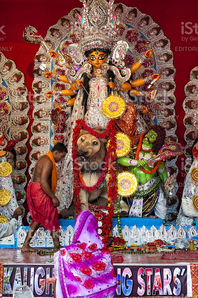 Durga Puja, a pandal, Kolkata, India royalty-free stock photo