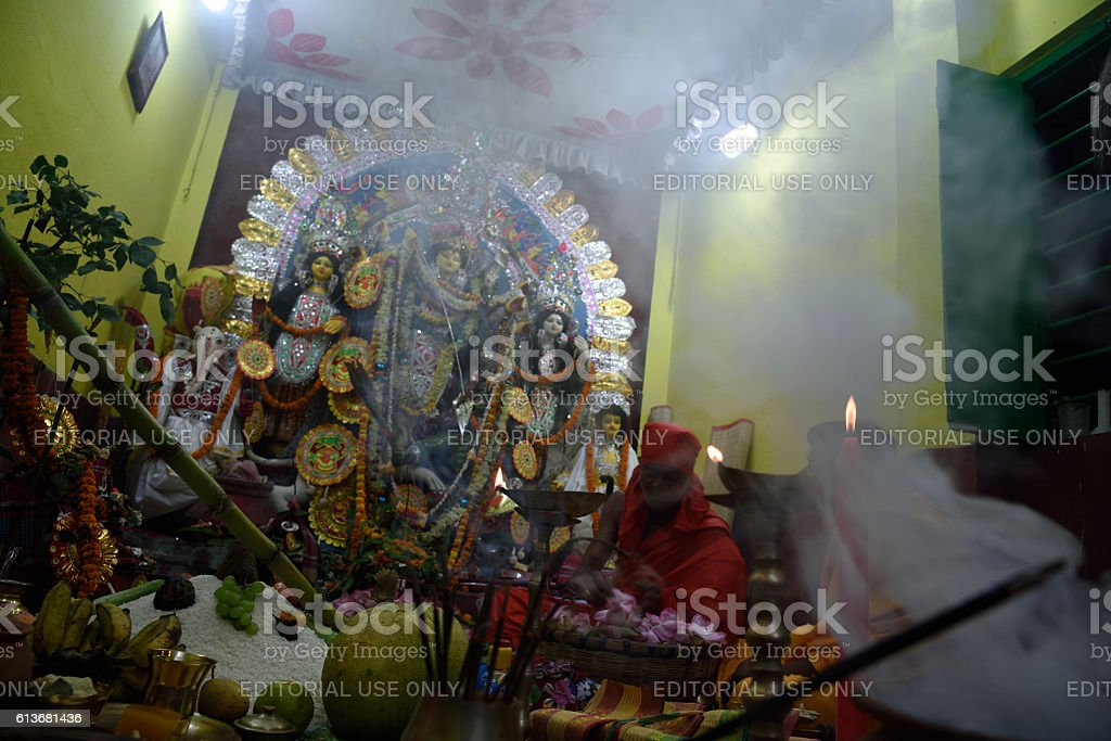 Durga Puja, an annual festival at West-Bengal stock photo