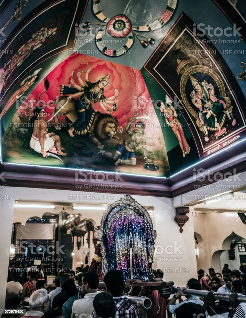 Durga Puja Sri Mariamman Temple Singapore stock photo