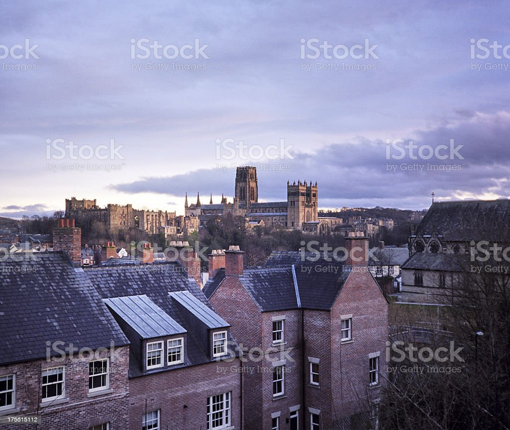 Durham and its Cathedral, evening stock photo