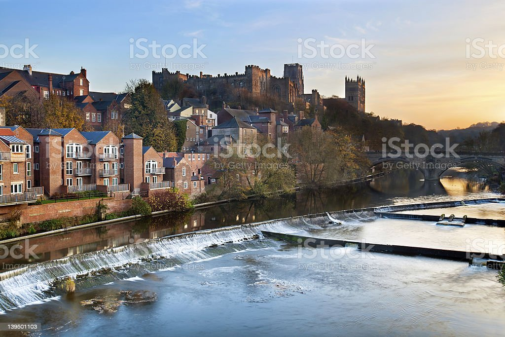 Durham at dusk, UK stock photo