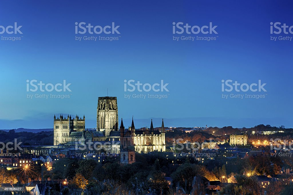Durham Cathedral and Castle by Twilight stock photo