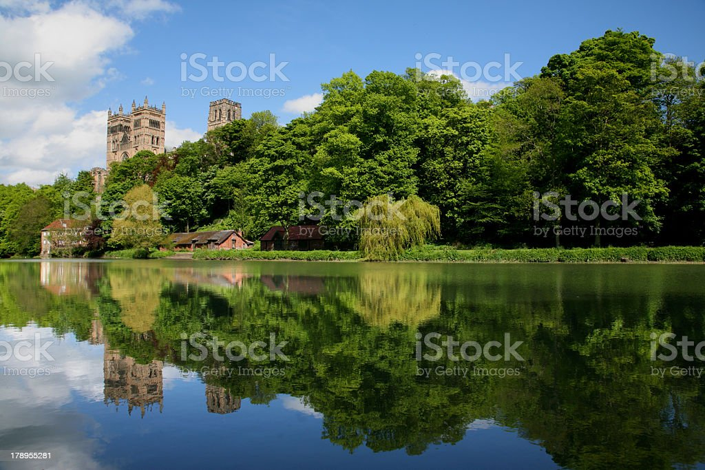 Durham Cathedral and its reflection on water stock photo