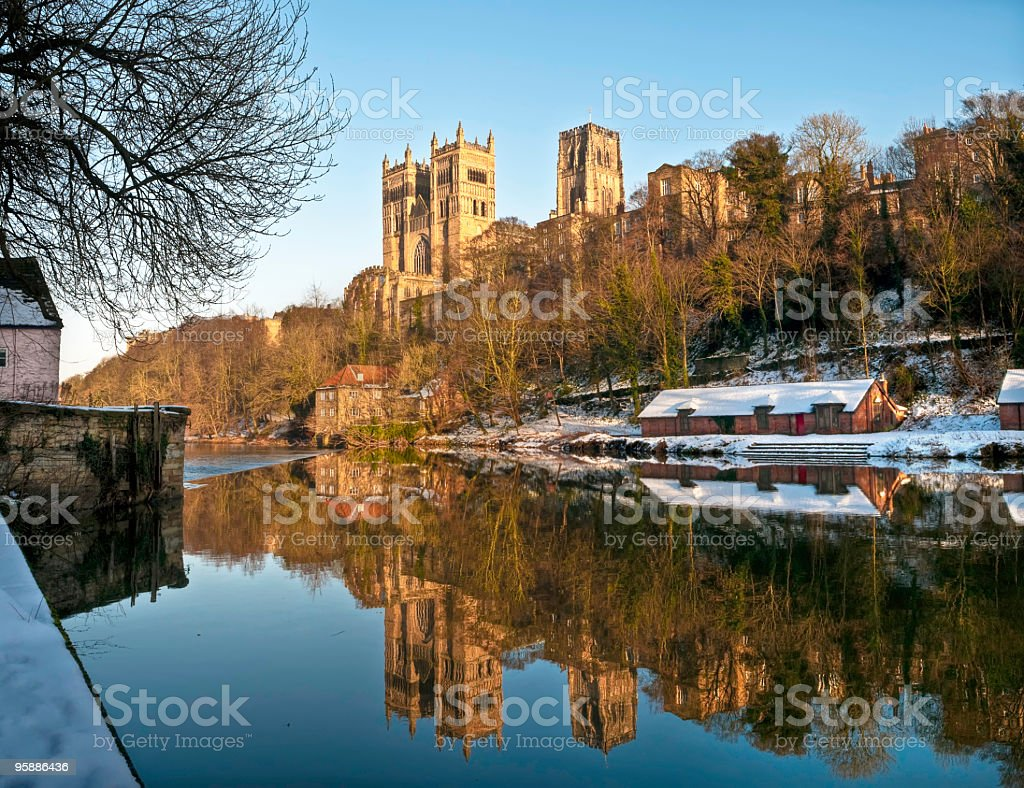 Durham Cathedral and River Wear, UK stock photo