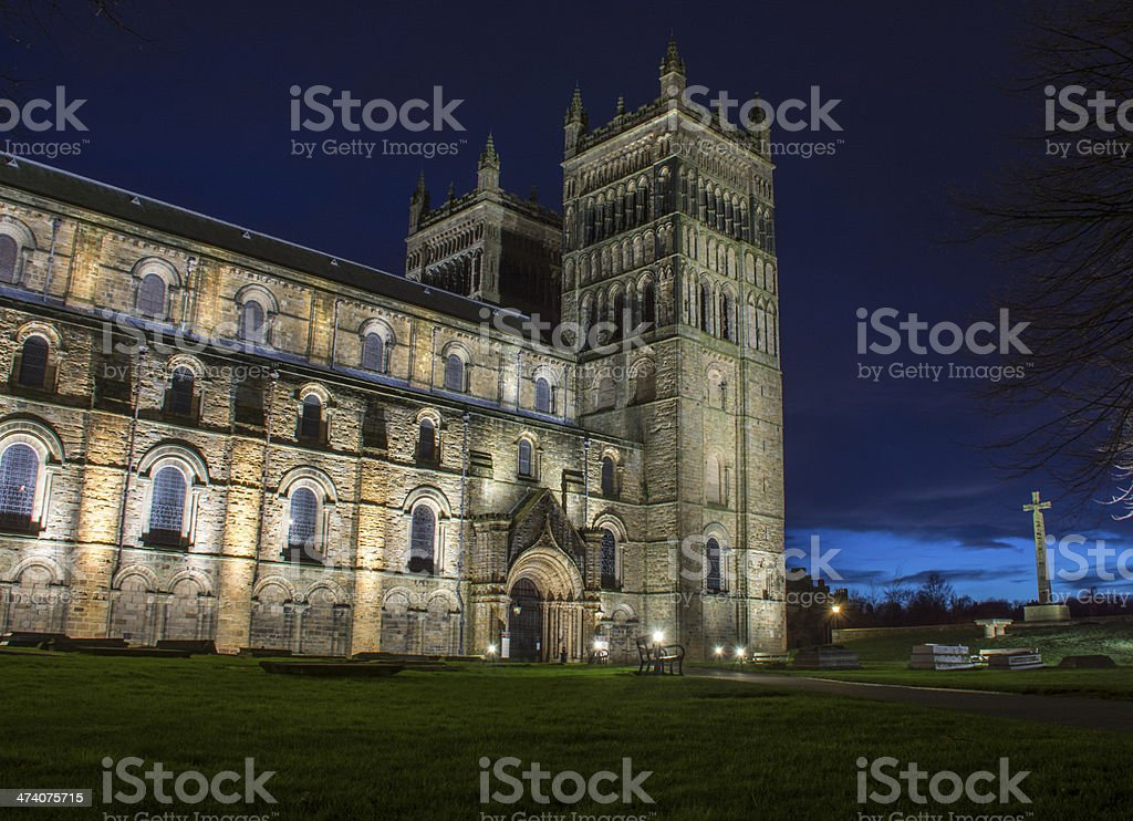 Durham Cathedral at night stock photo