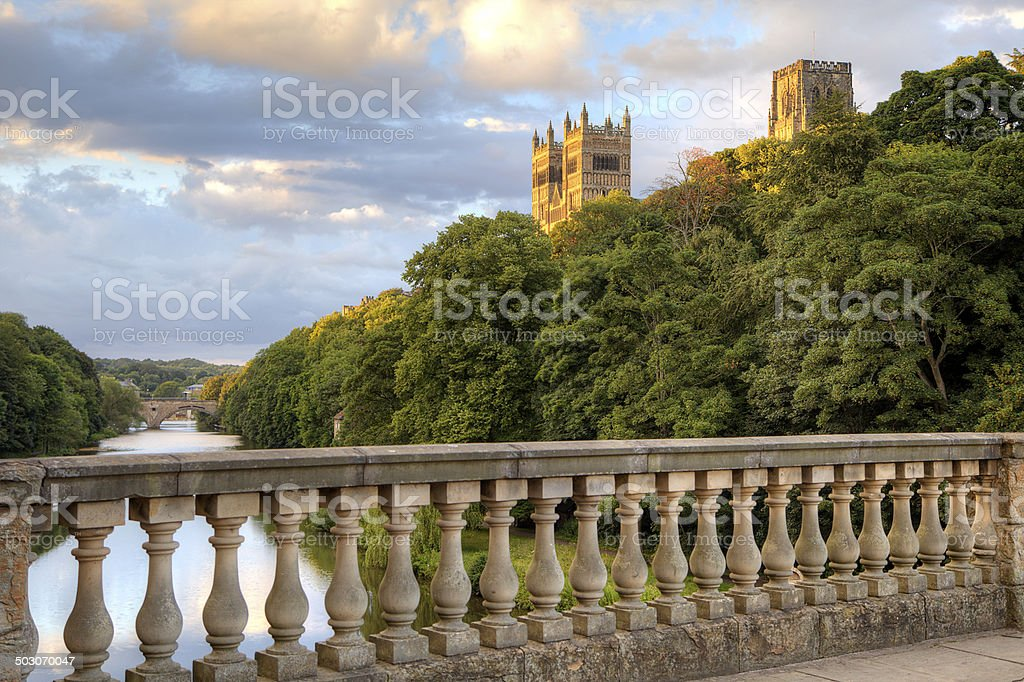 Durham Cathedral from Prebends Bridge stock photo