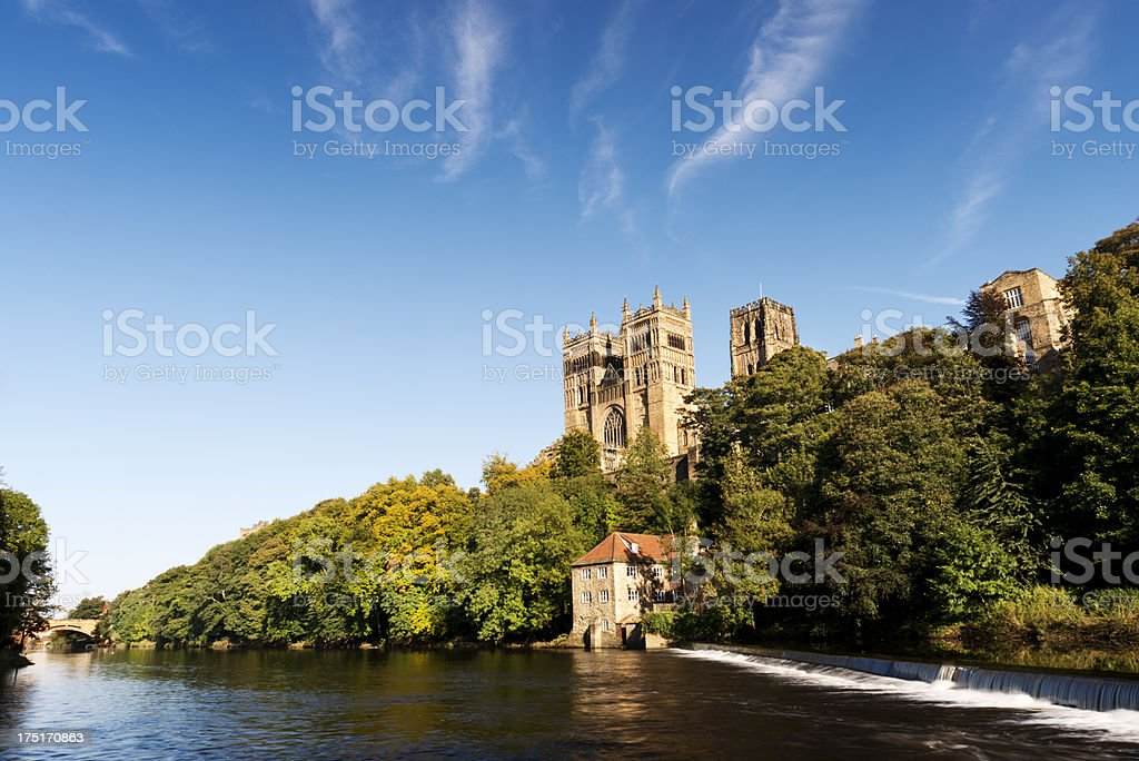 Durham Cathedral on the River Wear in day. stock photo