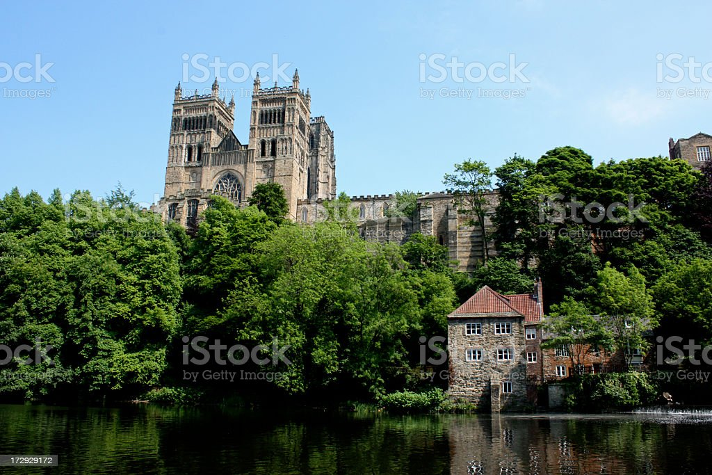 Durham Cathedral over River Wear stock photo