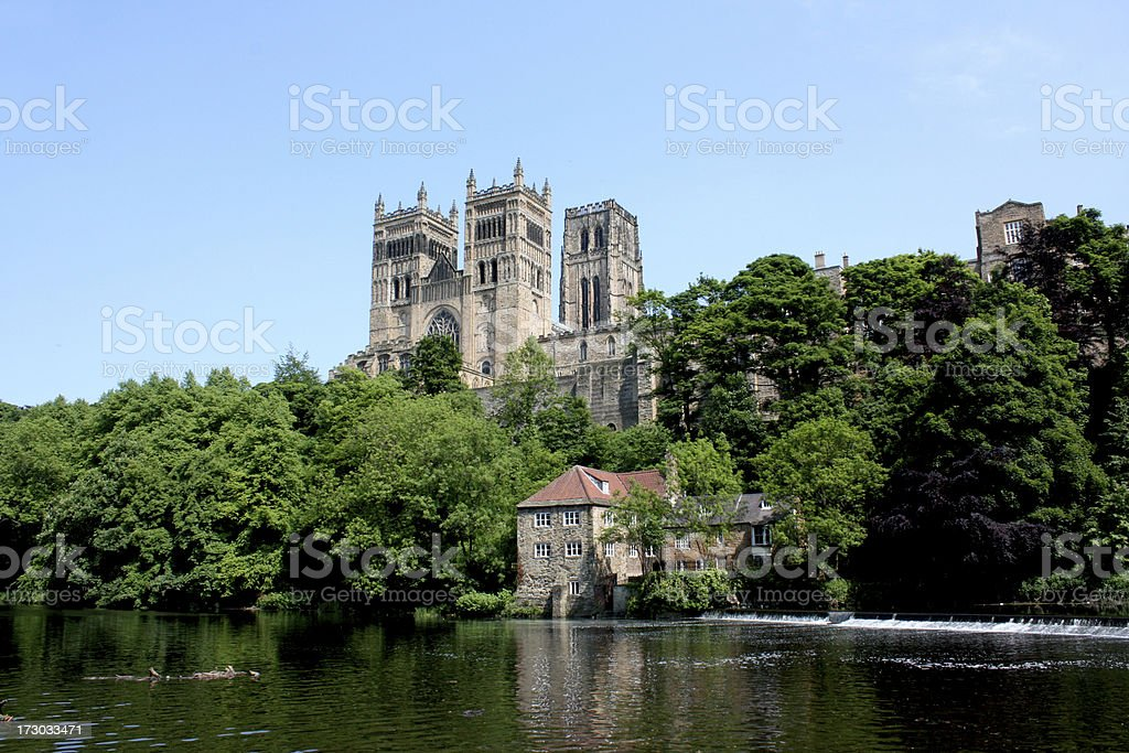 Durham Cathedral over River Wear royalty-free stock photo