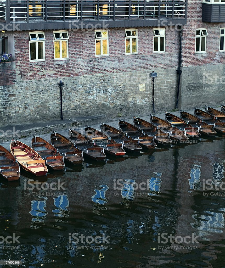 Durham from the Elvet bridge - row of boats, dusk stock photo