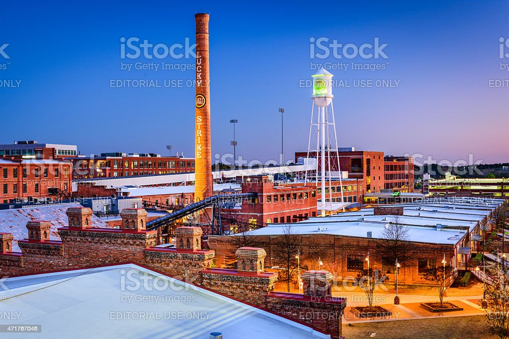 Durham, North Carolina Downtown at Dusk stock photo