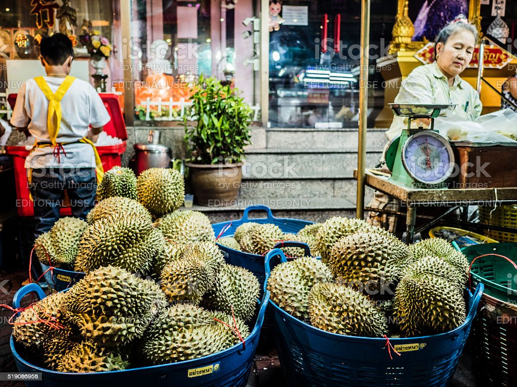 Durian fruit for sale Chinatown Bangkok stock photo