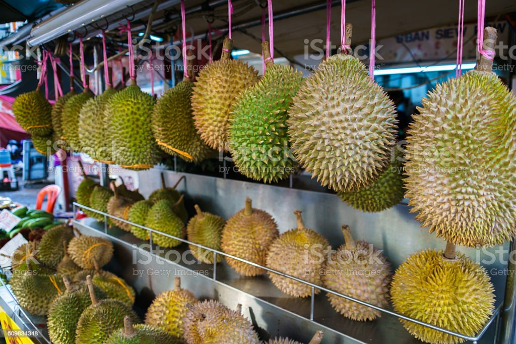 Durian fruits at street food stall stock photo