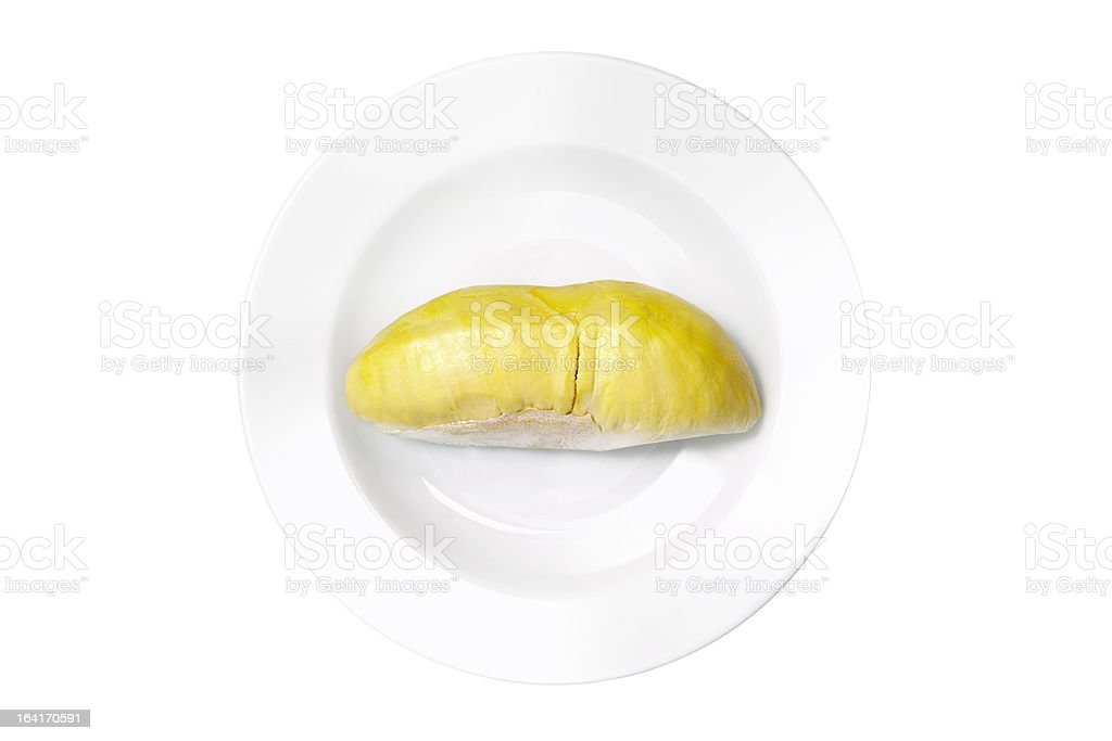 Durian (Monthong) in white plate, isolated with clipping paths stock photo