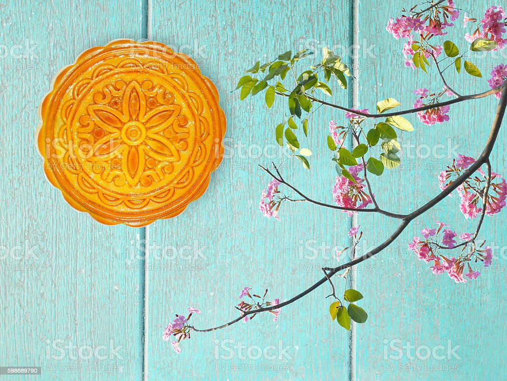Durian mooncake for Mid-autumn festival and flowers decoration o stock photo