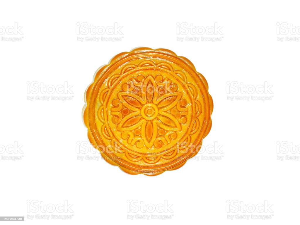 Durian mooncake isolated on white background (with clipping path stock photo