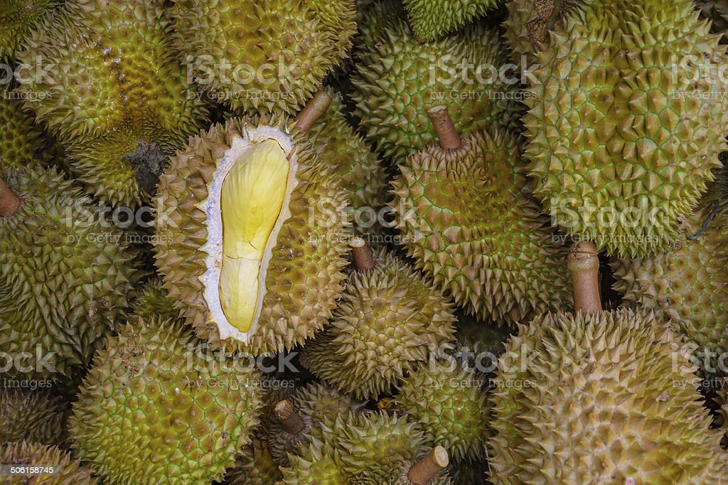 Durians in the market stock photo