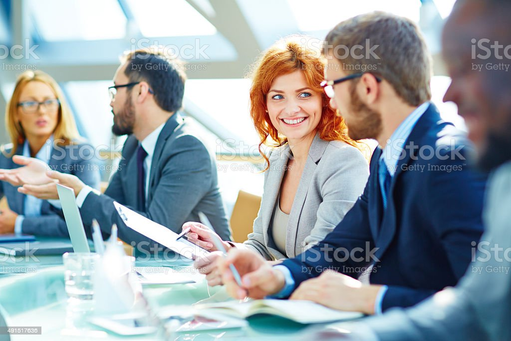 During discussion stock photo