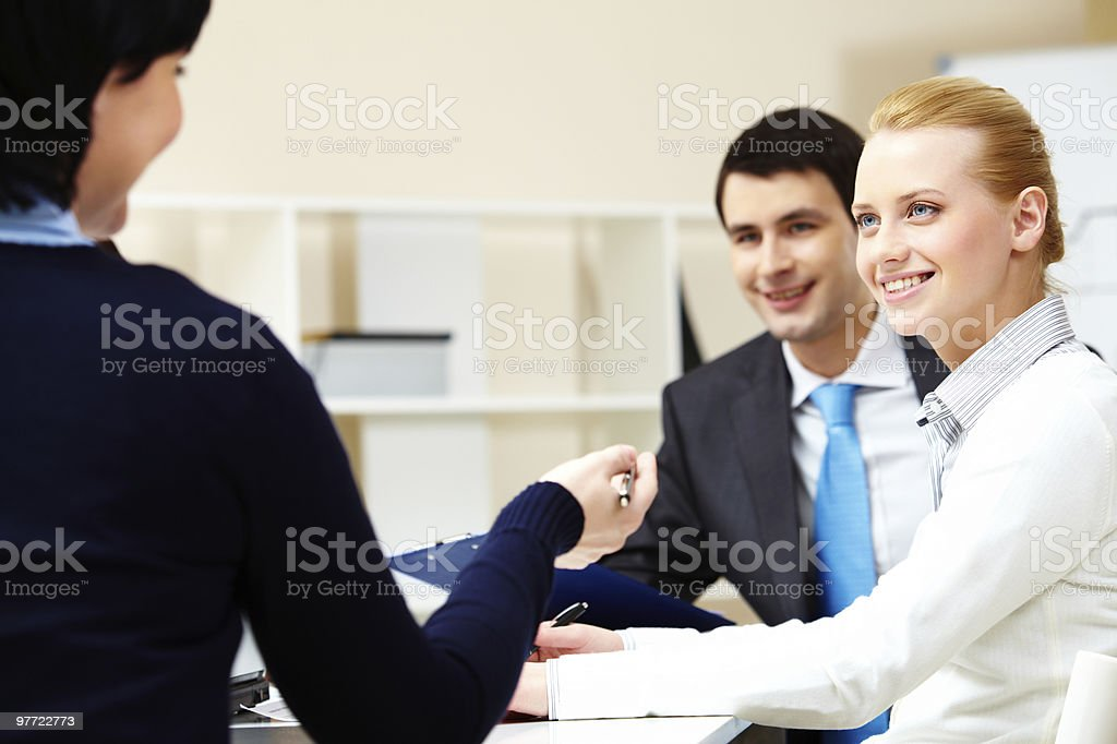 During discussion royalty-free stock photo