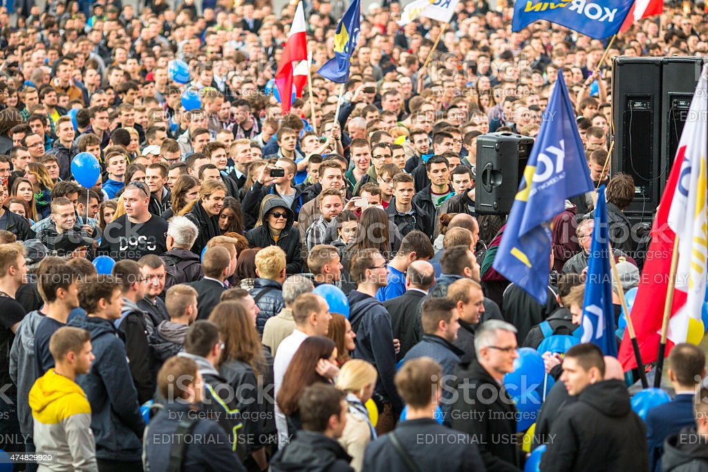 During rally of presidential candidate of Poland - Janusz Korwin-Mikke stock photo