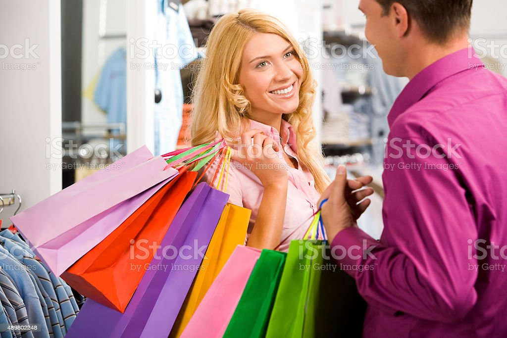During shopping stock photo