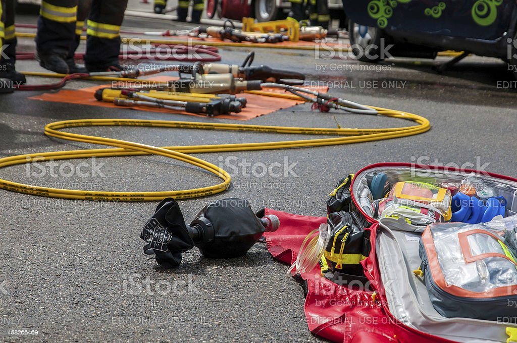 During show practice, Operation traffic accident stock photo