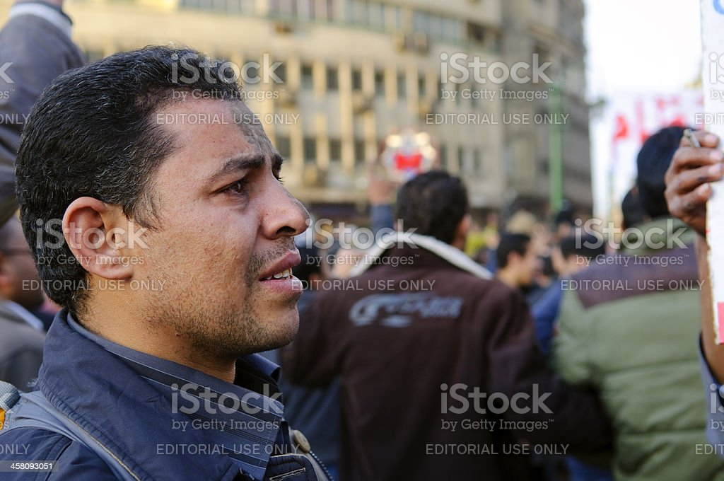 Egyptian emotion at protest royalty-free stock photo