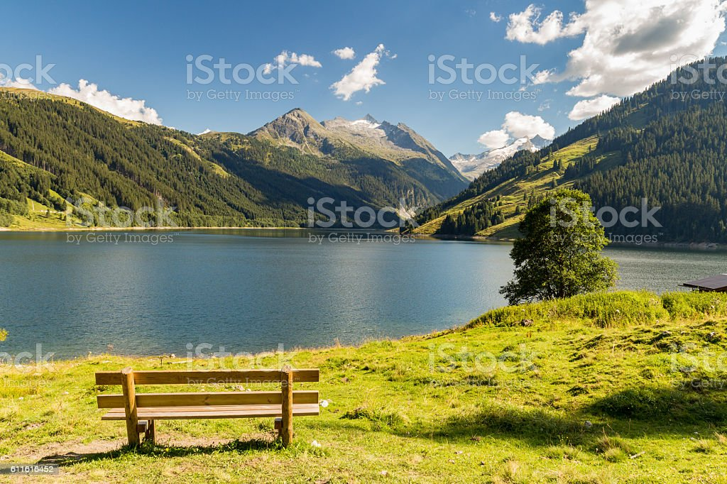 Durlassboden reservoir in the Zillertal Alps, Austria stock photo