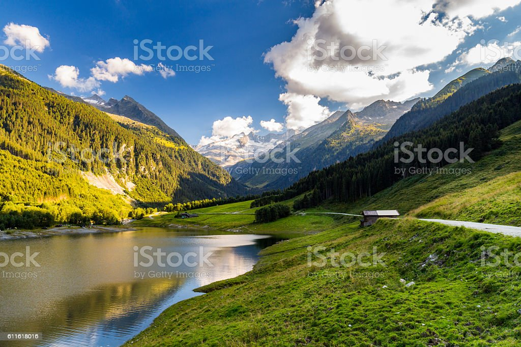Durlassboden reservoir in the Zillertal Alps, Austria stock photo