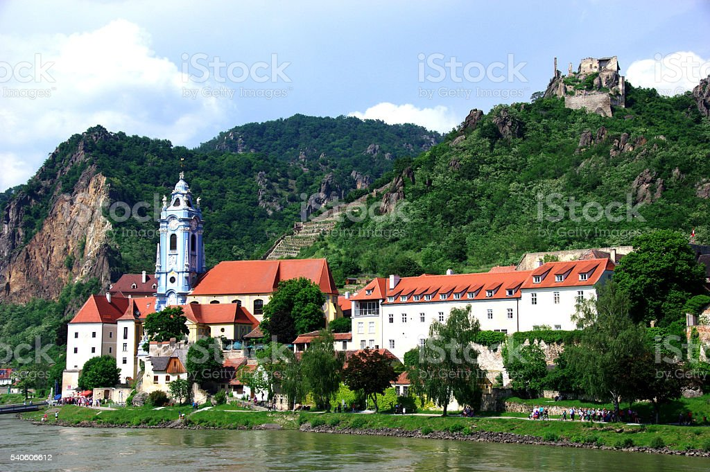 Durnstein View from the Danube, Austria stock photo