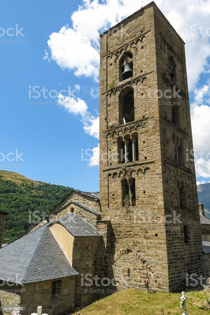 Durro Church, example of Romanesque art, in the Catalan Pyrene stock photo