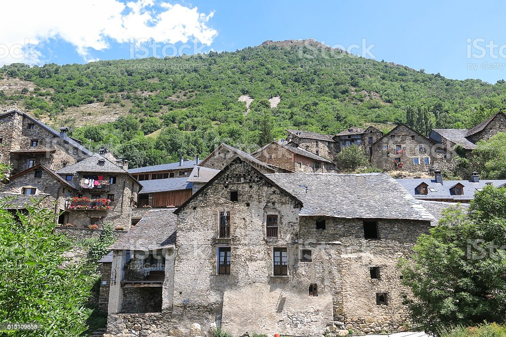 Durro, typical stone village in the Catalan Pyrenees. Spain stock photo