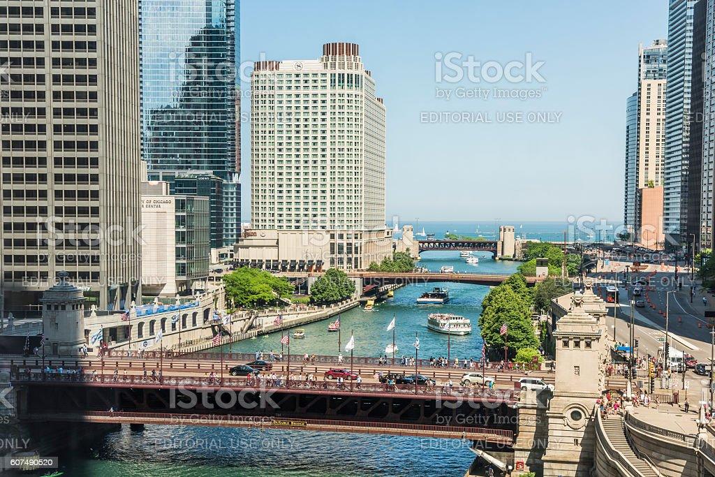 DuSable bridge and Wacker Drive stock photo