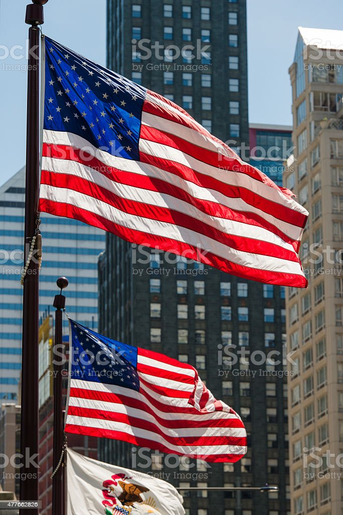 DuSable Bridge Flags stock photo
