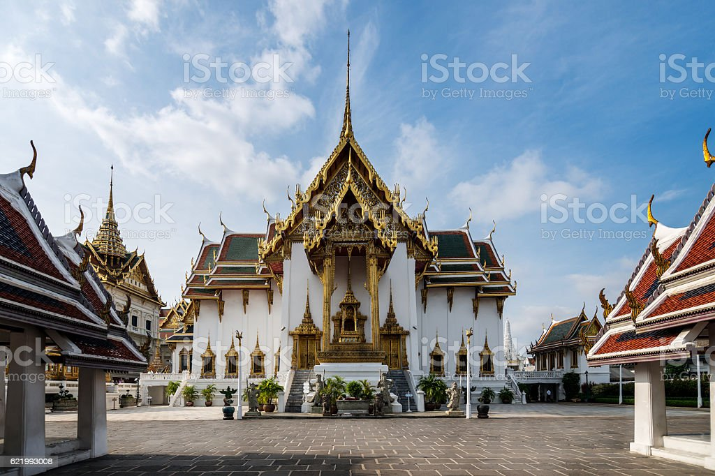 Dusit Maha Prasat Throne Hall in Grand palace at Bangkok. stock photo