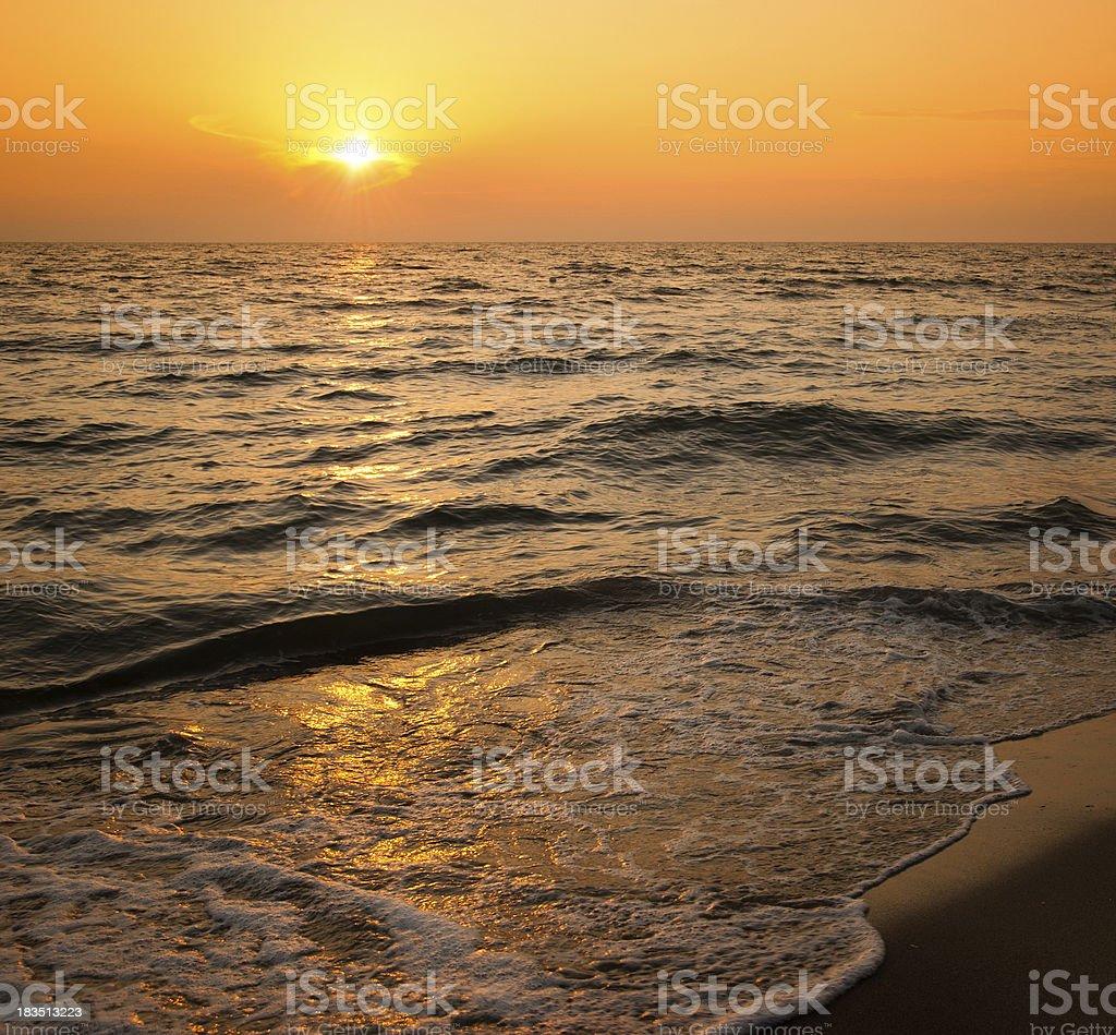 Dusk along the beach seaside royalty-free stock photo