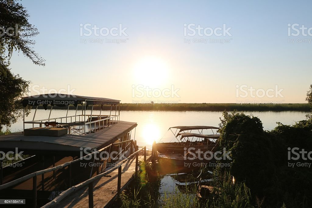 Dusk at Cuando river, Caprivi Strip of Botswana Africa stock photo