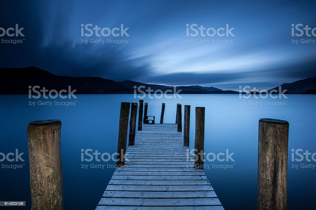 Dusk at Derwent Water stock photo