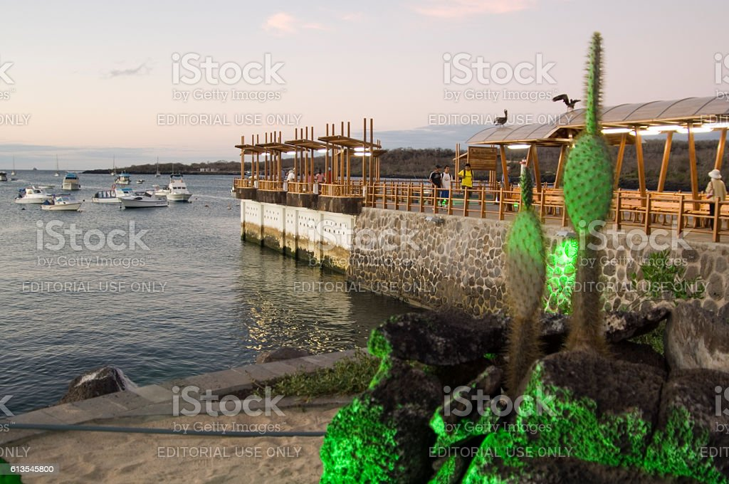 Dusk at harbour of Puerto Baquerizo Moreno, Galapagos Islands stock photo