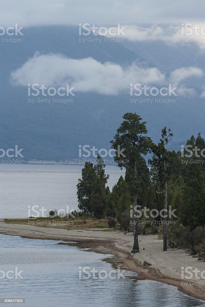 dusk at lake Brunner stock photo