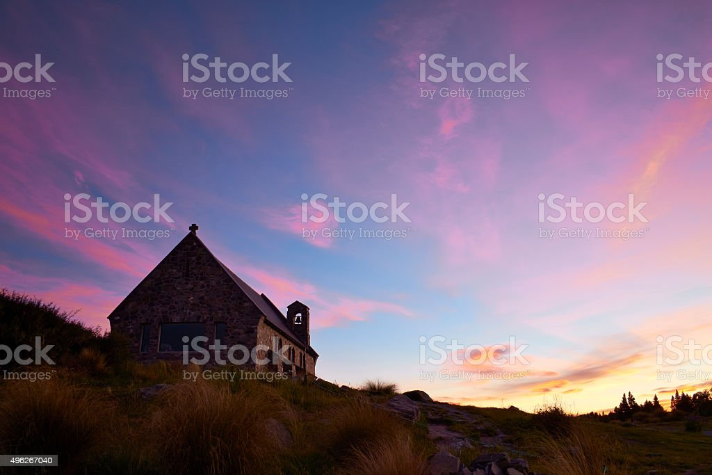 Dusk At Lake Tekapo Church stock photo