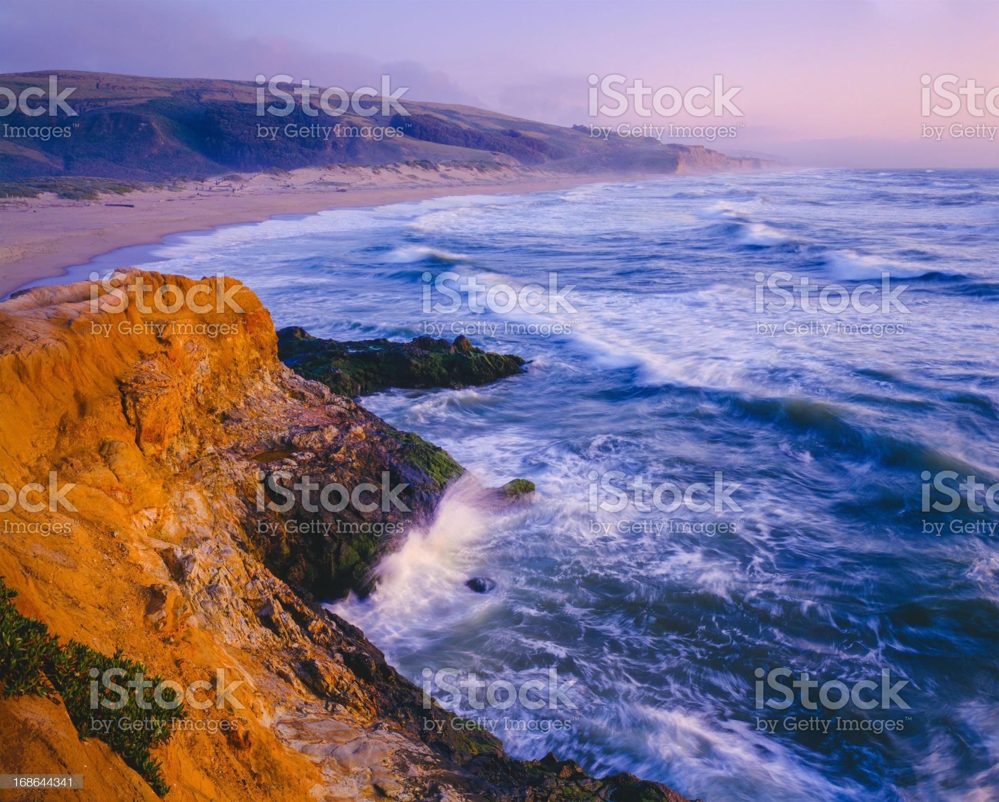 Dusk at Pescadero State Beach, California Coastline royalty-free stock photo
