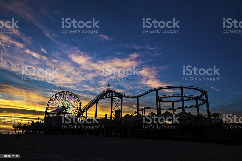 Dusk at Santa Monica Pier royalty-free stock photo