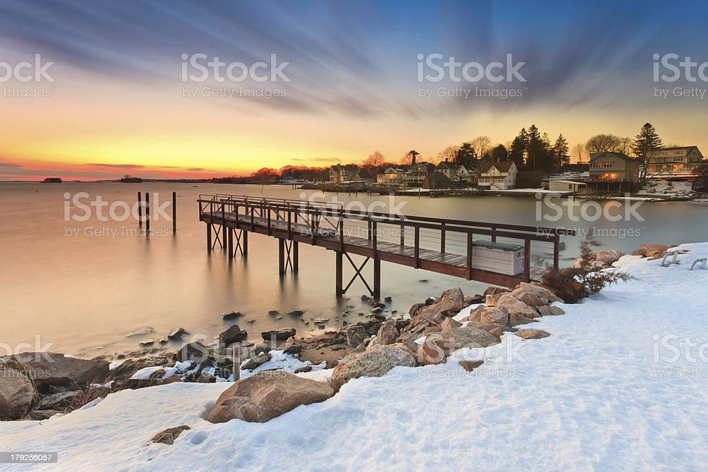 Dusk at the Pier. stock photo