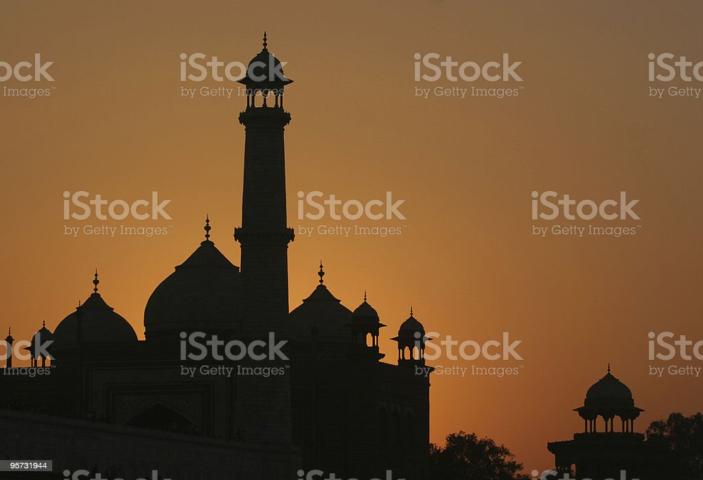 Dusk at the Taj Mahal, Agra, India stock photo