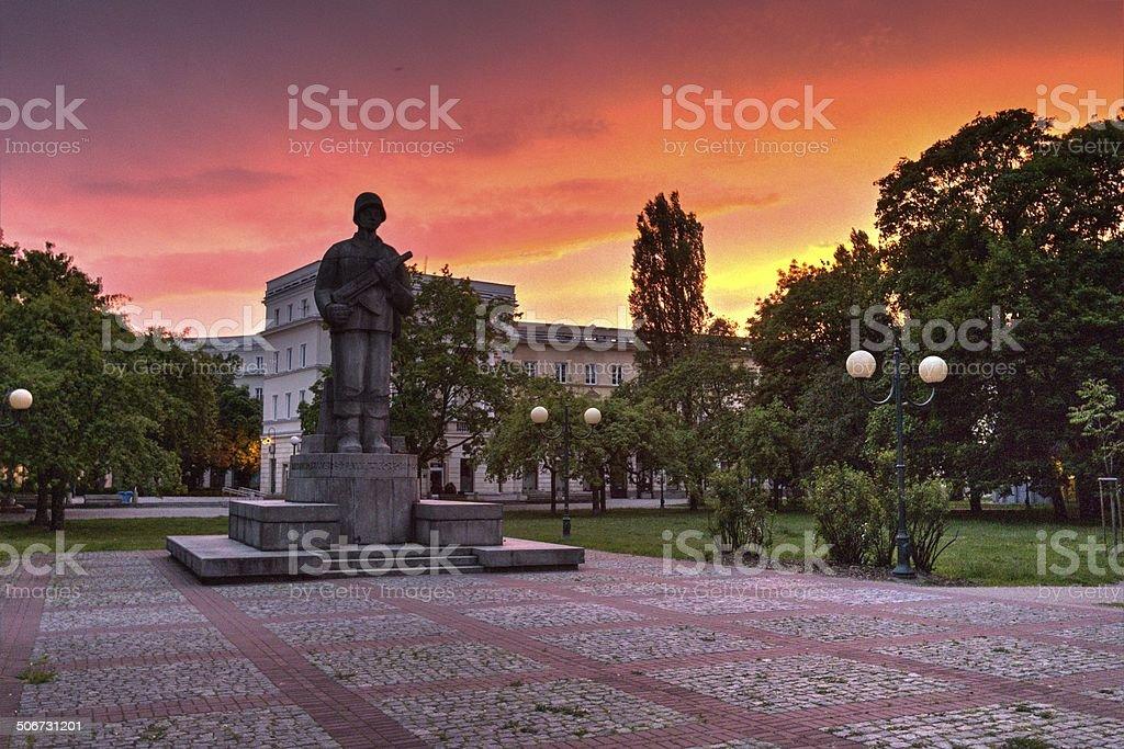 Dusk at War Memorial in Warsaw stock photo